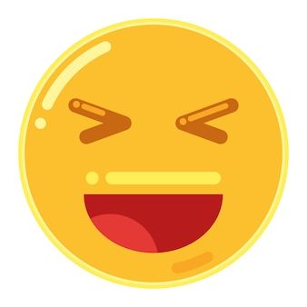 Lachend gezicht met open mond en gesloten ogen emoticon