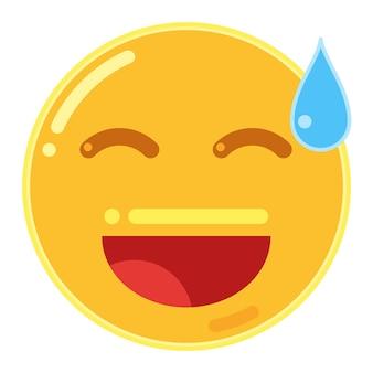 Lachend gezicht met open mond en koud zweet