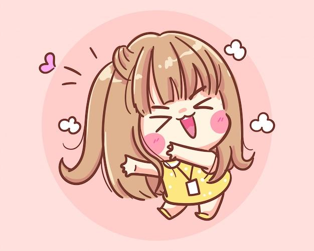 Lachend meisje blij en grappige cartoon kunst illustratie premium vector