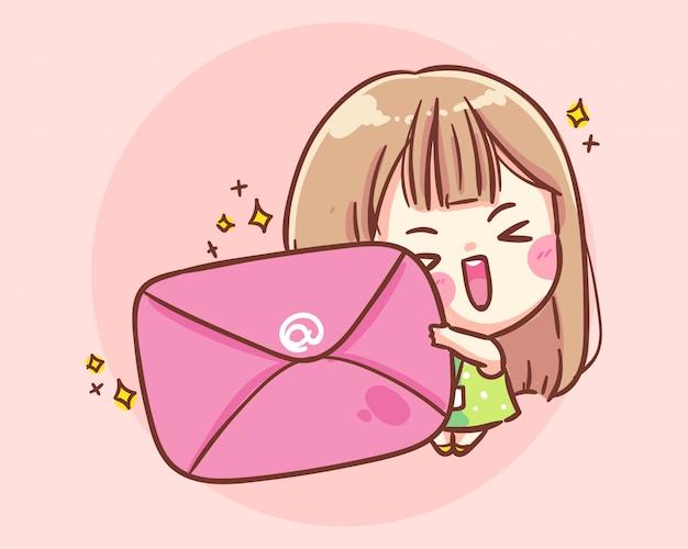 Lachend meisje houd een grote envelop cartoon kunst illustratie premium vector