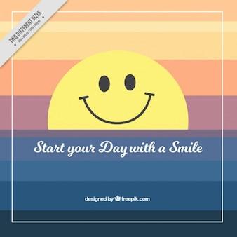Lachend smiley achtergrond en positieve zin Gratis Vector