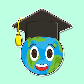 Lachende aarde karakter afstuderen met toga hoed cartoon vectorillustratie