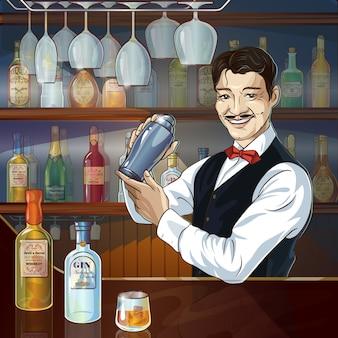 Lachende barman op het werk