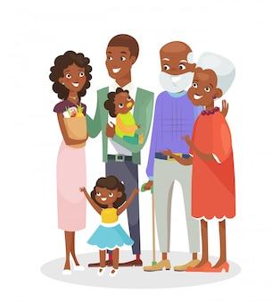 Lachende cartoon moeder, vader, moeder en broer in stijl.
