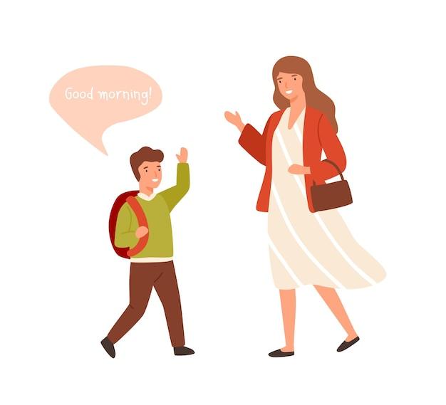 Lachende cartoon welgemanierde jongen groet volwassen vrouw vlakke afbeelding