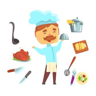 Lachende chef-kok. keukenapparatuur en verschillende schalen voor. kleurrijke cartoon gedetailleerde illustraties