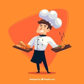 Lachende chef-kok oranje achtergrond