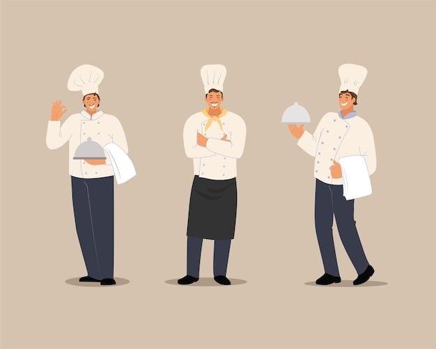 Lachende chef-kok set. tekens in een vlakke stijl. vectorillustratie op een geïsoleerde achtergrond.