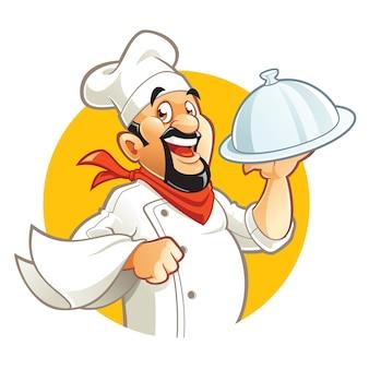 Lachende chef-kok stripfiguur