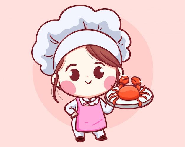 Lachende chef-kok vrouw. meisje met krab zeevruchten illustratie logo.