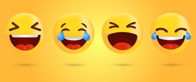 Lachende emoji met tranen - emoticon met tranen van vreugde - vrolijke emoji - grappige emotie