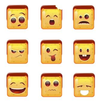 Lachende emoticon geconfronteerd met positieve en negatieve pictogrammen