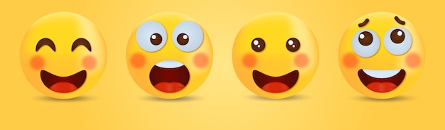 Lachende emoticon met lachende ogen - happy smiley face cute emoji