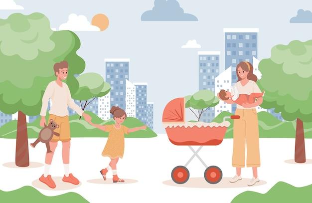 Lachende en gelukkige familie wandelen in stadspark vlakke afbeelding. moeder, vader, jong meisje en pasgeboren baby.