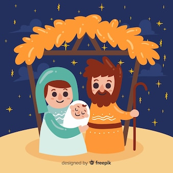 Lachende familie kerststal achtergrond