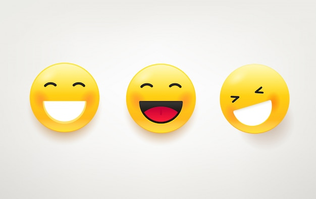 Lachende gezichten pakken. leuke tekenset