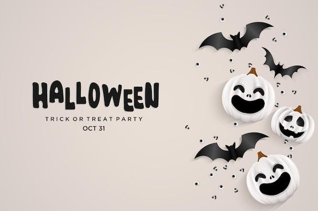 Lachende halloween-pompoen met enge vleermuis