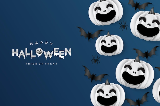 Lachende halloween-pompoenen op marineblauwe achtergrond