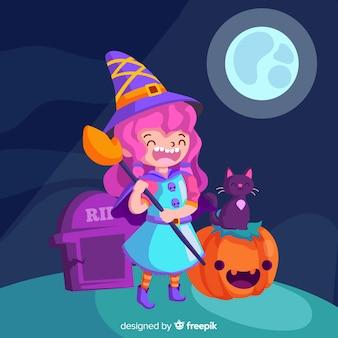 Lachende heks op een kerkhof op een volle maan nacht