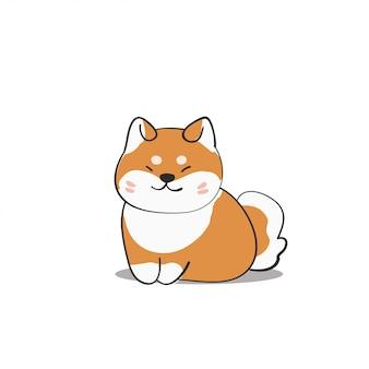 Lachende hond shiba inu hand getrokken stijl illustratie