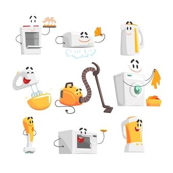 Lachende huishoudelijke apparaten ingesteld voor. kleurrijke gedetailleerde illustraties