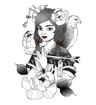 Lachende japanse geisha ontving een bericht