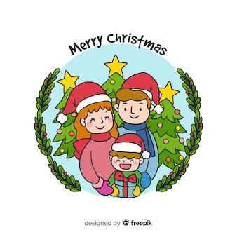 Lachende jongen kerstmis achtergrond