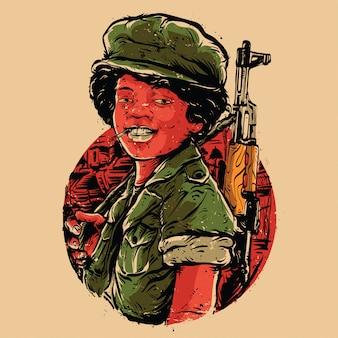Lachende jongen soldaat illustratie