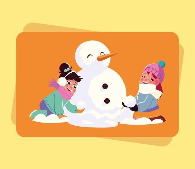 Lachende meisjes maken sneeuwpop spelen met sneeuwbal cartoon vectorillustratie