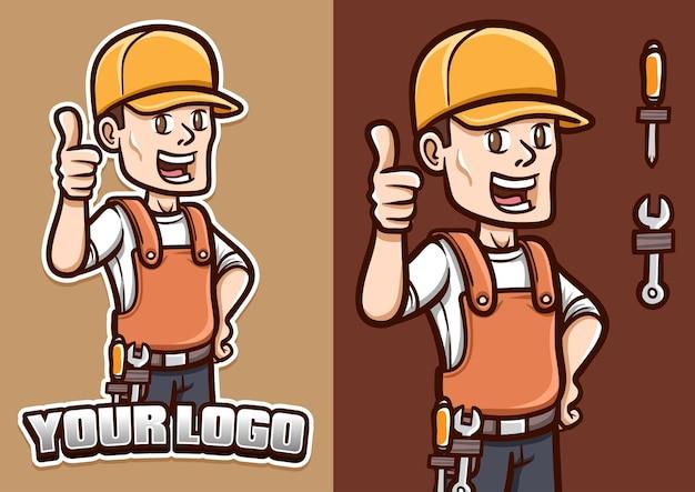 Lachende monteur laat zijn duim mascotte karakter illustratie zien