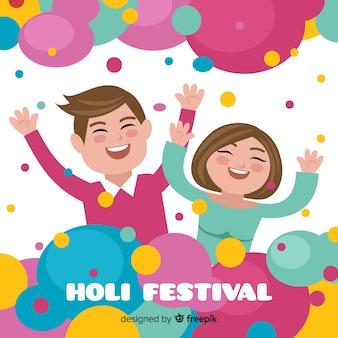 Lachende paar holi festival achtergrond