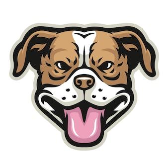 Lachende pitbull hoofd