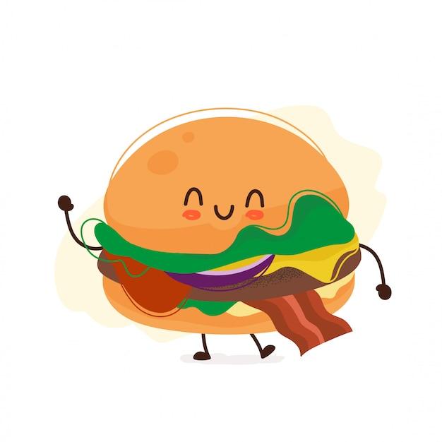 Lachende schattige hamburger zwaaiende hand