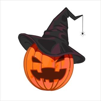 Lachende sinistere hefboom-o-lantaarn in de zwarte hoed van een heks met een spin.