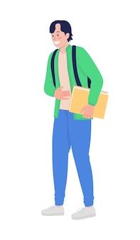 Lachende tiener schooljongen semi egale kleur vector karakter