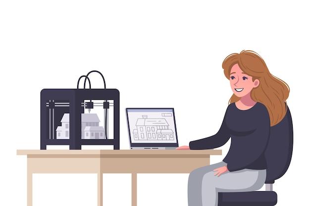 Lachende vrouw architect afdrukken huis model op 3d-printer cartoon