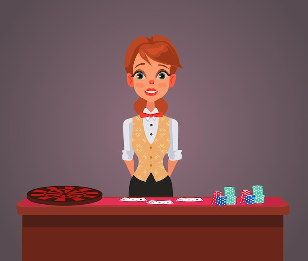 Lachende vrouw casino croupier karakter.