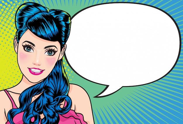 Lachende vrouw gebaar praten presenteren iets met punt achtergrond popart strips stijl