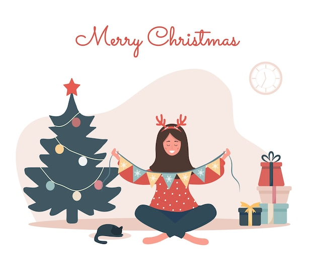 Lachende vrouw kerstboom versieren. nieuwjaar vintage briefkaart.