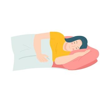 Lachende vrouw slapen op bed cartoon