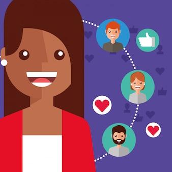Lachende vrouw virale inhoud mensen verbinding