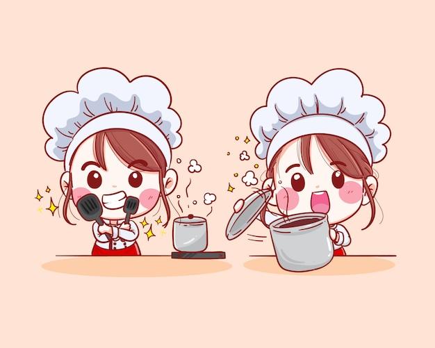 Lachende vrouwelijke chef-kok. de vrouwenchef-kok kookt. hand getekende illustratie
