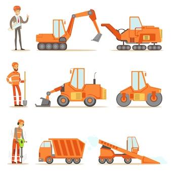 Lachende wegenbouw en reparatie werknemers in uniforme en zware vrachtwagens op bouwplaats set cartoon illustraties