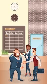Lachende zakenman schudden hand in moderne kantoor