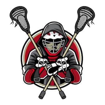 Lacrosse-spelers waren gekruiste lacrosse-sticks en handen in de borst
