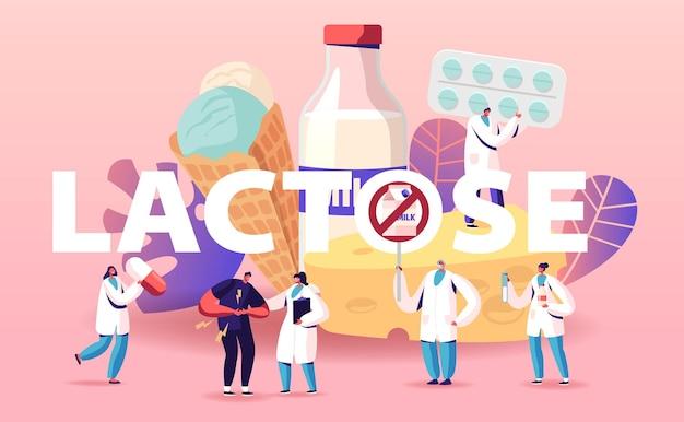 Lactose-intolerantie concept. man voelt zich slecht in maag bezoek ziekenhuis voor behandeling. cartoon afbeelding