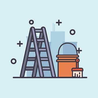 Ladder verfborstel en emmer