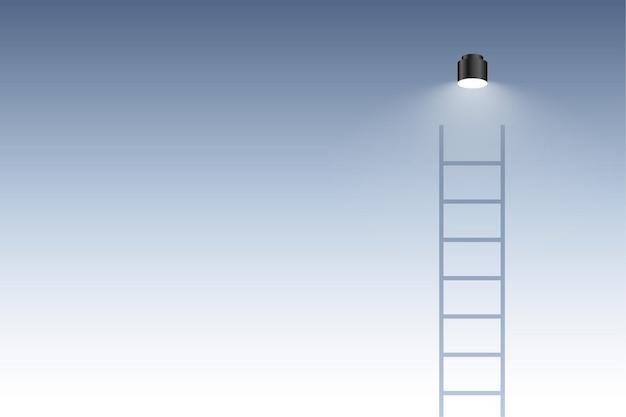 Laddertrap met de achtergrond van het gloeilampenconcept