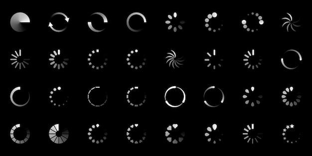 Laden pictogram ingesteld op zwarte achtergrond