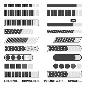 Laden proces iconen set. download en upload indicatorteken, wachtsymbolen. illustratie.